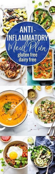 Food plays an key role in reducing inflammation in the body, so here's a dairy free and gluten-free anti-inflammatory meal plan. It's full of recipes that are nourishing for the mind and body! Simple, delicious, and rich in foods that are known for their anti-inflammatory properties. Vegan, Paleo, and Whole 30 friendly options. www.cottercrunch.com #foodanddrink