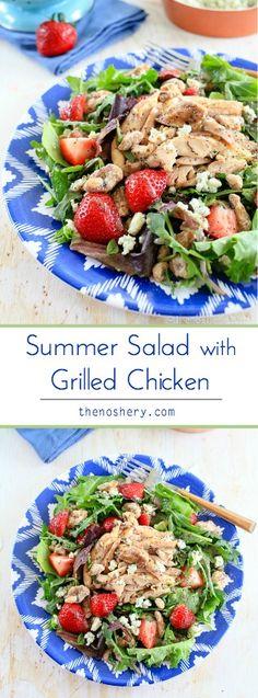 Summer Strawberry Salad with Grilled Chicken | TheNoshery.com - @thenoshery