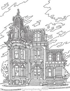 Victorian House Adult Coloring Page Detailed Coloring Pages, Free Adult Coloring Pages, Free Printable Coloring Pages, House Colouring Pages, Cat Coloring Page, Coloring Books, Coloring Sheets, House Drawing, Painted Books