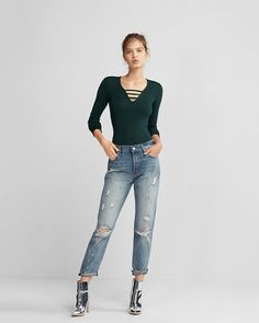 The soft, stretchy fit of this v-neck sweater will make it an ally at the office, as well as a polished after-hours pick. And it comes in a solid shade that you can wear with pretty much anything.