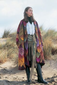 Ravelry: Long Leaf Coat pattern by Kaffe Fassett Fashion Sewing, Boho Fashion, Coat Patterns, Coat Dress, Crochet, Plaid Scarf, Textiles, Leaves, Knitting