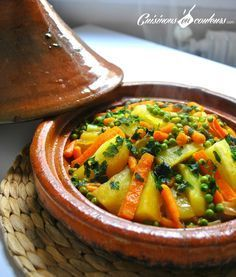 This is another Moroccan favorite tagine recipe. You'll be surprised how Vegetables will taste so different, appetizing, fresh and tasty when cooked in a Moroccan Tagine. For this slow-cooked flavo. Tajin Recipes, Veggie Recipes, Vegetarian Recipes, Cooking Recipes, Healthy Recipes, Slow Cooking, Morrocan Food, Moroccan Dishes, Moroccan Recipes