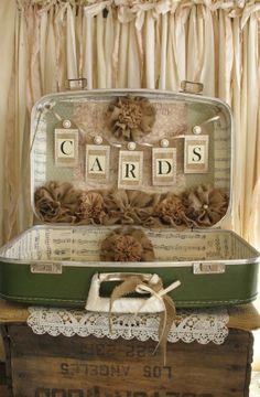 Vintage Suitcase Wedding Card Holder Shabby Chic Wedding Rustic Country Wedding Green