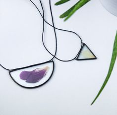 Peony necklace Stained glass Herbarium necklace by terezavarga