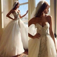 Stunning Beaded Crystal Ivory Lace Plus Size Zuhair Murad Wedding Dresses 2016 with Detachable Train Sweetheart Sheath Bridal Gowns Vestidos Online with $197.91/Piece on Flodo's Store | DHgate.com