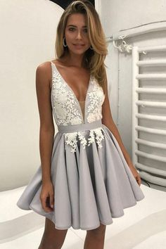Ball Gown Prom Dress, A line Prom Dresses, Silver A-line Princess Party Dresses, A-line Short Prom Dresses, 2018 Homecoming Dress V-neck Silver Appliques Short Prom Dress Party Dress Prom Dresses Girl Cute Homecoming Dresses, V Neck Prom Dresses, A Line Prom Dresses, Cheap Prom Dresses, Prom Party Dresses, Sexy Dresses, Evening Dresses, Dress Prom, Dress Lace