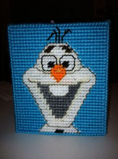 Plastic Canvas disney | Plastic canvas tissue box side #3- Olaf from Disney's Frozen.
