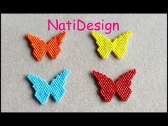 MARIPOSAS MONO COLOR - YouTube Beading Projects, Beading Tutorials, Beading Patterns, Native Beadwork, Bracelet Crafts, Butterfly Jewelry, Earring Tutorial, Butterfly Pattern, Beaded Animals