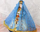 rag doll, soft doll, cloth doll, Fabric doll, Representation of religious icon old style fabric , Virgin Mary and baby Jesus, One of a kind