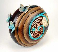 Bonnie Gibson gourd art... Inspiration for paper mache r clay