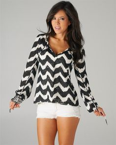Simply Fabulous Black and White Chevron Style Tie Blouse-