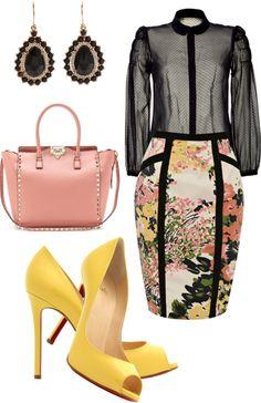 """Working girl: sheer black polka dot blouse, floral pencil skirt with black piping detail, blush pink Valentino studded handbag, yellow peep toe Christian Louboutins."" by ekbarrios on Polyvore"