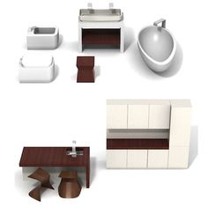 Classic Contemporary Furniture for modern dollhouses showing