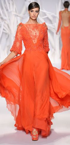 We are getting a sugar high over the super pretty Elie Saab Spring/Summer 2012 Couture collection. Abed Mahfouz Orange Haute Couture Lace Go. Style Haute Couture, Couture Mode, Couture Fashion, Runway Fashion, Instyle Fashion, Fashion Trends, Abed Mahfouz, Mode Orange, Love Fashion