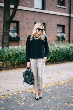 Work-Appropriate Holiday Party Outfit // Black Sweater + Gold Metallic Pants + Black Bow Pumps