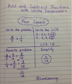 and Subtracting Fractions Using the Four-Square Method When I first started teaching adding and subtracting fractions with unlike denominators to my fifth graders, I quickly realized that they needed some concrete step-by-step directions. They also needed Adding And Subtracting Fractions, Math Fractions, Multiplication, Simplifying Fractions, Dividing Fractions, Teaching Fractions, Add Fractions With Unlike Denominators, Equivalent Fractions, Worksheets
