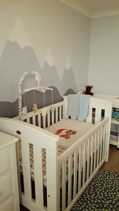 Our baby's mountain / woodland themed nursery, excited to have him here next week!