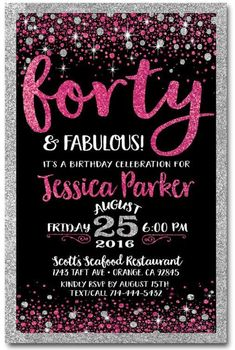 40th Birthday Invitations For Women Invitation Wording Templates Custom