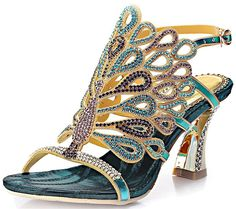 Reinhar Women's Rhinestone Peacock Patterned Wedding Sandals Dress Chunky Heel ** Wow! I love this. Check it out now! : Hiking sandals