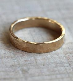 Hammered Gold Wedding Band - Wide  by Praxis Jewelry on Scoutmob Shoppe