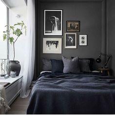 Dark and cosy  #interior #design #bedroom #masculineinterior #bedroomdecor #bedroominterior #homedecor #paintings #photowall  Styling by @balthazarinterior