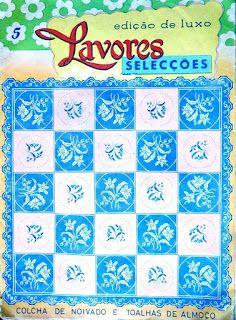 """Da revista """"Lavores selecções"""", uma toalha de quadrados e ponta de renda.  manela"""