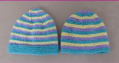 This knitting pattern gives the option of garter stitch or stocking stitch beanies. The pattern includes prem and newborn sizes. Knitting Toys Easy, Knitting For Charity, Baby Knitting Patterns, Knitted Baby Beanies, Garter Stitch, Neck Scarves, Headbands, Doll Clothes, Baby Shoes