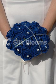 Shop Stunning Royal Blue Rose Bridesmaid Bouquet with Crystal Pins online from Silk Blooms at just £ It is an online artificial wedding flowers store in UK. Blue Rose Bouquet, Rose Bridesmaid Bouquet, Wedding Bouquets, Sister Wedding, Blue Wedding, Diy Wedding, Dream Wedding, Wedding Ideas, Military Wedding