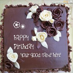 write name on Roses Chocolate Birthday Cake picture