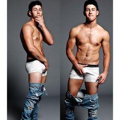 "Nick Jonas tá todo sexy ""estilo Marky Mark"" nas fotos para a revista... ❤ liked on Polyvore featuring babes, boys and jonas"
