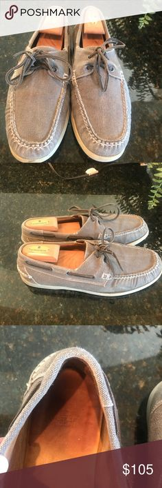Peter Miller light grey men's loafers These casual size 11.5 men's boat shoes have a classic dockside moccasin toe and a canvas washed finish. There is only mild wear only on the rubber soles. They go great with both jeans and shorts. Peter Millar Shoes Loafers & Slip-Ons