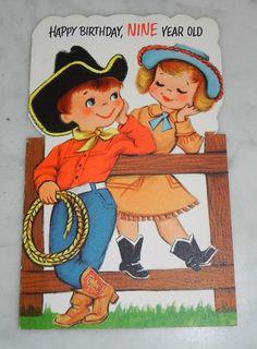 c1950s American Greeting Card 9 Year Old Birthday Western Cowboy | eBay
