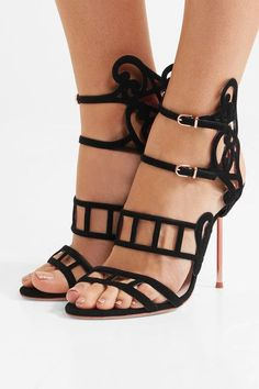 Heel measures approximately 110mm/ 4.5 inches Black suede Buckle-fastening ankle strap Imported