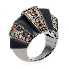 Matthew Campbell Laurenza Primordial silver ring in black rhodium-plated silver with black enamel and multi-colored sapphires.