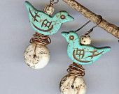 Beaded Dangle Blue Bird Earrings with Magnesite Stones and Nests of Copper Wire - Whimsical Bird Earrings - Nature Inspired Bird Jewelry