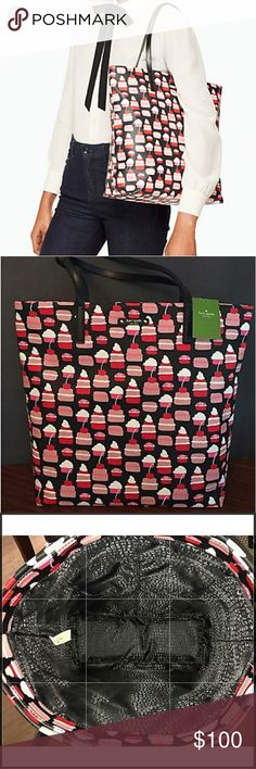 Kate spade cupcake tote NWT Very fun and practical sized tote, you can fit anything from laptop to books  measures 13.5 height, bag depth is 5.1 length is 12.5 and strap drop is 8.3 material is canvas ( leather trim) with dual interior side pockets. A true stunner. TAKING OFFERS ! Kate spade  Bags Totes