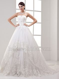 A-Line Princess Strapless Natural Waist Satin Tulle Plus Size Wedding Dress - US$349.99 - Style WD7775 - Helene Bridal