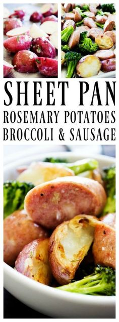 Gluten free · Sheet Pan Rosemary Potatoes, Broccoli, & Sausage is a deliciously gorgeous one-pan meal that is simple, easy, and wholesome. Hot Dog Recipes, Pork Recipes, Cooking Recipes, Healthy Recipes, Broccoli Recipes, Broccoli And Potatoes, Rosemary Potatoes, Sausage Potatoes, Edamame