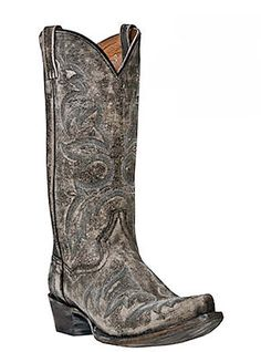 Distressed Leather Cowboy Boots