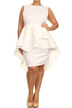 Plus Size Fashion, Glamorous Dip Hem Peplum Dress #plussizefashion #dress