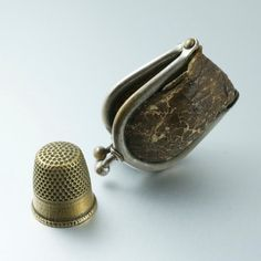 ANTIQUE  THIMBLE.  thimble case. victorian. english . Cecile Stewart .