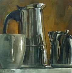 Coffee Collection Reflections, painting by artist Michael Naples