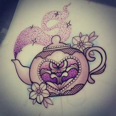 sophieadamsontattoo:  Sparkly teapot for Sally  #tattoo #design #drawing…