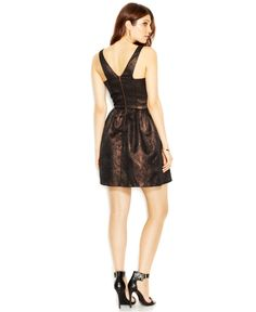 Bar III Metallic Brocade Flared Dress - Dresses - Women - Macy's