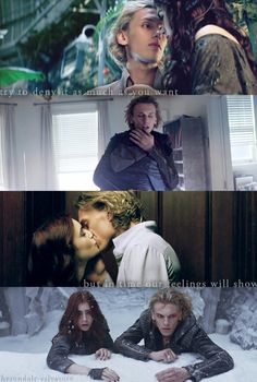 I love the second one cuz they seriously just met. and right before this- well before she ran away-she was yelling at him-and then he walked in and she went to him at once. he didn't even think about it. Jace, who is super closed off- just took her in his arms.