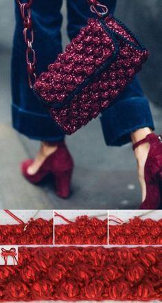 Popcorn Stitch, Crochet Handbags, Crochet Videos, Knitted Bags, Crochet Accessories, Missoni, Free Crochet, Knitting Patterns, Purses