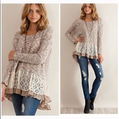 ️Mocha LACE Trim marbled tunic ️LACE and ruffled layered marbled tunic knit top is such a great look to add to your wardrobe . Sizes S & L only please comment to order Vivacouture Sweaters