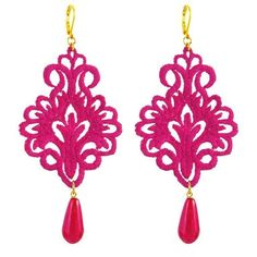 Tita' Bijoux Giglio Fuchsia Lace Earrings ($64) ❤ liked on Polyvore featuring jewelry, earrings, accessories, orecchini, pink, lace earrings, fuchsia jewelry, pink jewelry, fuschia earrings and nickel free earrings