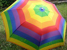 1980s Rainbow Umbrella, Retro 1980s Sturdy Rainbow Umbrella