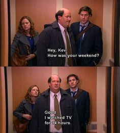 Kevin Malone may not be the brightest bulb in the box, but we have to admit, there were times when he was the most relatable character on The Office. Like legit, spirit animal status. RELATED: 12 T… Michael Scott, Dundee, Mau Humor, Office Memes, Best Office Quotes, Funny Office, Funny Work, Work Memes, Just For Laughs